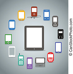Abstract style modern and vintage mobile color phones across the compact computer