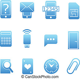 Collection of blue web icons. Isolated on white