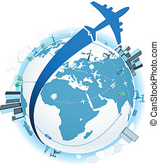 Traveling by a plane. Vector illustration