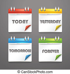 Paper diary icons with bended color corners
