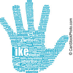 Like hand symbol tag cloud word - Like hand symbol with tag...