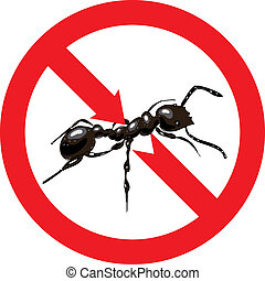 Ants banned. Sign prohibited. Vector illustration.