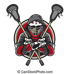 Lacrosse Mascot - Illustration of lacrosse players was...