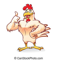Strong Chicken - Cartoon chicken a strong and gallant was...
