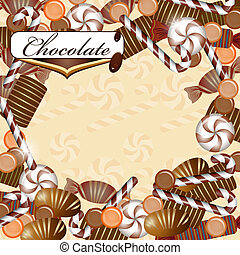 Background with chocolate candy and drops