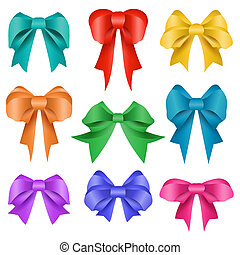 Different colors bow collection isolated on white