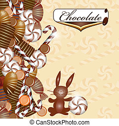 Background with chocolate candy and chocolate bunny