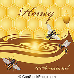 Honey background and bees  - Honey background, bees and drop