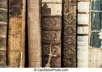 Old Books - A close up of many old books