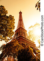 Tour Eiffel - Image of Tour Eiffel and a nice sunset