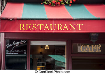 Restaurant - Signboard by entrance in restaurant. Paris....