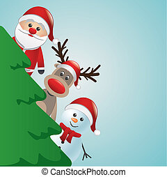 santa reindeer and snowman behind christmas tree