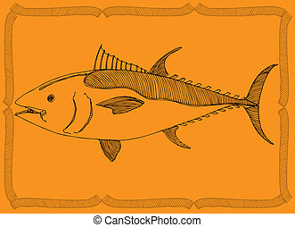 fish drawing - fish- original drawing on orange background