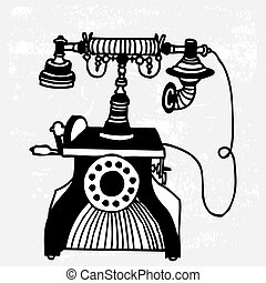 vintage phone on white background