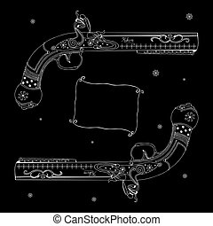 Pistols - Original drawing of two white pistols on black...