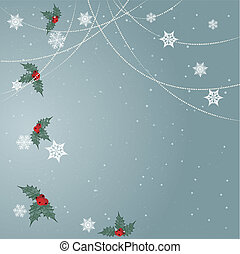 Minimal Christmas background with snowflakes,ornaments and...