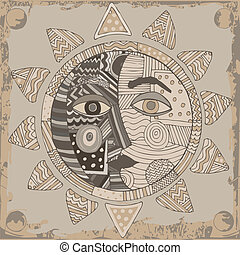 Sun and Moon card - Sun and Moon combination on gray...