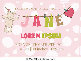 Baby Girl Arrival Card with place for your text and baby...