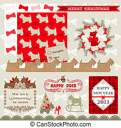 scrap_christmas_dog - Scrapbook Design Elements - Vintage...