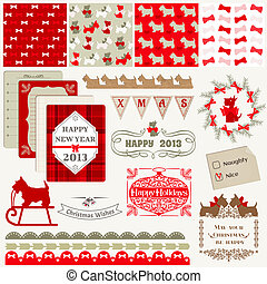 Scrapbook Design Elements - Vintage Christmas Dog - in...