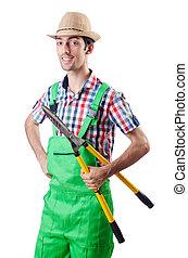 homem, jardineiro, tesouras, branca