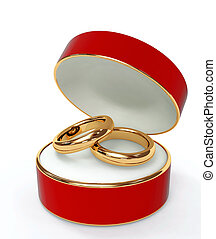 Red 3d casket with two wedding rings. Object over white