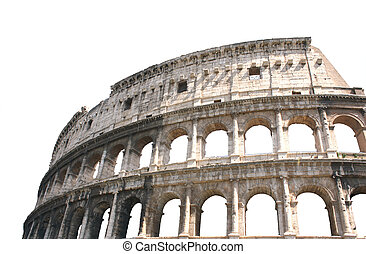 Coliseum, Rome - Ancient Colosseum, Rome, Italy. Isolated...