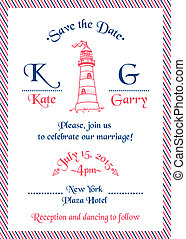 Wedding Marine Invitation Card - in vector