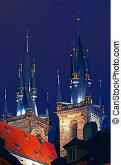 Tyn church in Prague, Czech Republic. Behind view.