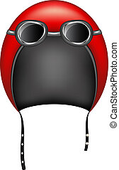 Retro motorcycle helmet and goggles on white background
