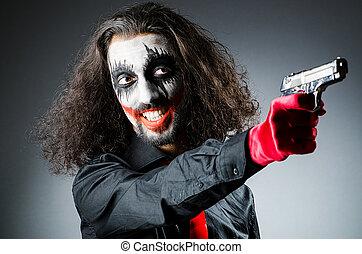 sombre, mal, salle,  clown, fusil