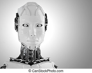 robot android women isolated