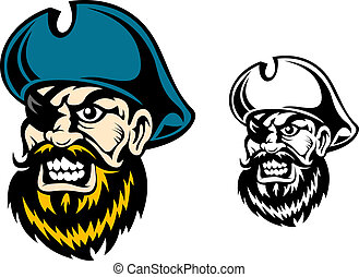 Old pirate captain in cartoon style for mascot or tattoo...