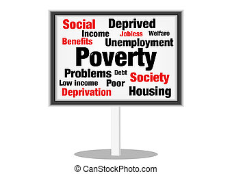 Poverty social - Social poverty concept sign with text