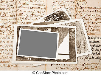 old pictures frame on old manuscript