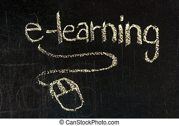 An image of a chalk board with the word e-learning and a...