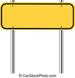 Blank yellow traffic sign on white