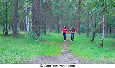 Romantic walk - Guy and girl walking in the park holding...
