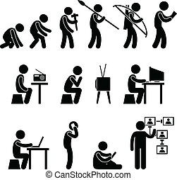 Human Evolution Pictogram - A set of pictogram representing...