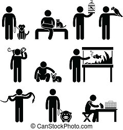 Human and Pets Pictogram - A set of pictogram representing...