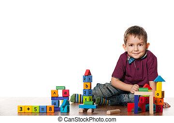 男孩, 很少, 玩具, 地板