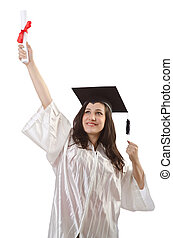 Graduate with diploma on white