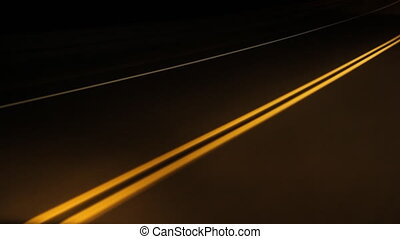 Night drive yellow lines. Timelapse