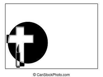 Obituary  - Funeral paper with a cross and candle - parte