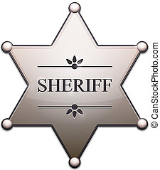 Sheriff Star with shadow isolated on white Vector...