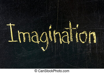 Imagination - The word Imagination handwritten with chalk on...
