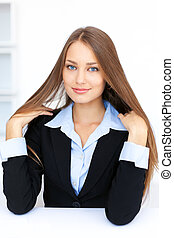 cute young business woman with beautiful long straight hair...