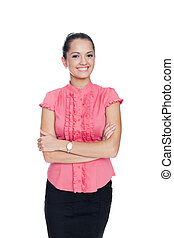 beautiful young smiling business woman standing with hands...