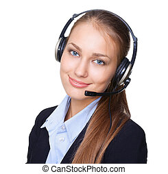 Closeup portrait of young female call centre employee with a...