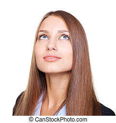 Closeup portrait of young businesswoman looking up isolated...